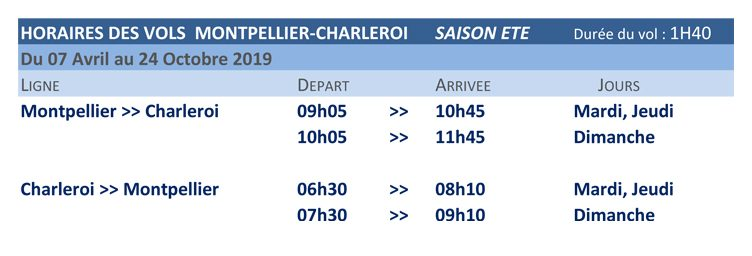 tuifly horaires montepllier charleroi